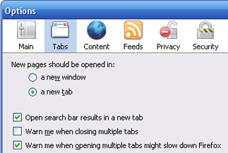 Firefox options window